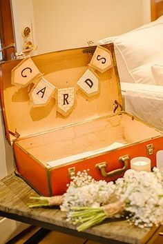 Vintage Suitcase with 'Cards' Bunting Wishing Wells & Gifts | Lovebird Weddings