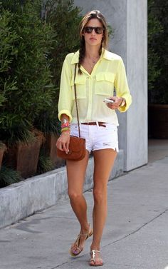 yellow shirt, white denim shorts @roressclothes closet ideas #women fashion outfit #clothing style apparel