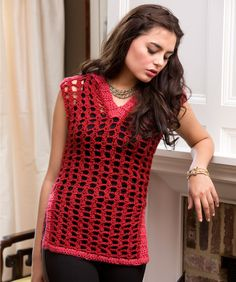 On-Trend Tunic by Kristin Omdahl. Free Red Heart pattern for this lightweight tunic.