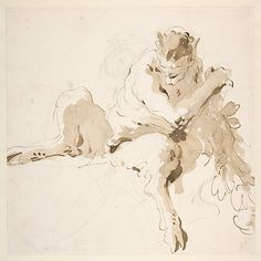 Seated Satyr Holding a Garland -  Giovanni Battista Tiepolo - Pen and dark brown ink, brush with pale and dark brown wash, over leadpoint or black chalk