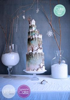 """Welcome home"" winter wedding cake COVER of CI Magazine. by Daniel Diéguez - http://cakesdecor.com/cakes/260578-welcome-home-winter-wedding-cake-cover-of-ci-magazine"