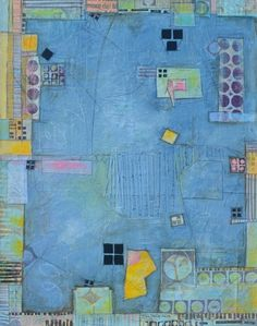 """Picket Fence"" by Elaine Brady Smith, 24"" x 30"" mixed media collage on canvas. http://www.elainebradysmith.com"