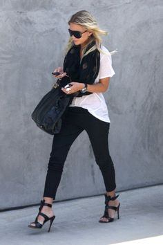 black&white w/very cool heels & big silver rings
