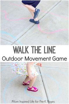 Walk the Line Outdoor Movement Game. Keep kids busy and learning outside with this super fun and easy outdoor activity to promote gross motor and balance skills. Perfect for Preschool and Kindergarten kids! - Pre-K Pages
