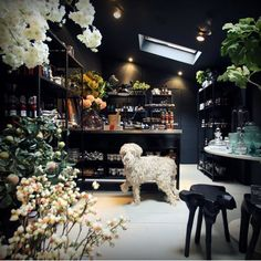 The newly opened Larder at my store, Abigail Ahern Interior Garden, Gray Interior, Interior And Exterior, Dining Room Inspiration, Interior Design Inspiration, Design Ideas, Whisky Shop, Abigail Ahern, Shop Interiors