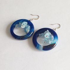 Blue agate earrings, sea and sky earrings, light blue and dark blue stripe agate earrings, nautical earrings, geometric dangle