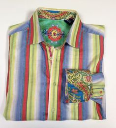 Robert Graham Long Sleeve Button Down Size M Medium Colorful Collar And Cuffs