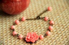 Pink beaded adjustable bracelet with pink flower by HirasuGaleri, $21.00 #jewelry #bracelet #resin #cabochon #wedding #bridesmaid #glassbead  #flower #spring