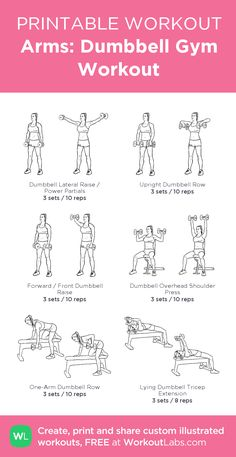 Arms: Dumbbell Gym Workout: my visual workout created at WorkoutLabs.com • Click through to customize and download as a FREE PDF! #customworkout by http://healthy-fitnesspro.blogspot.com/