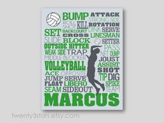 Men's Volleyball Typography Art Print Perfect for coaches, volleyball players or senior gifts. Shown in grey and green by twenty3stars.com