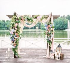 pink blue garland for mandap curtain tie packs wedding arch / http://www.deerpearlflowers.com/wedding-ceremony-arches-and-altars/3/