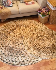 New England Cottage Round Natural Style Rug