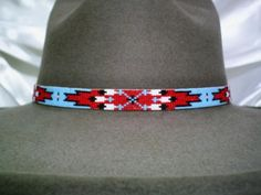 Southwest Native American Style hat band~ loom beaded feather hatband-Hatband I have beaded on my loom and available for purchase or custom order Indian Beadwork, Native Beadwork, Native American Beadwork, Native American Fashion, Seed Bead Patterns, Jewelry Patterns, Beading Patterns, Beaded Hat Bands, Beading Techniques