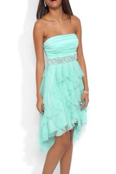 Strapless High Low Prom Dress with Mesh Bodice and Tendril Skirt-The deb i absolutely luv this dress! 8th Grade Dance Dresses, 8th Grade Graduation Dresses, Formal Dance Dresses, 8th Grade Formal Dresses, School Dance Dresses, Formal Dresses For Teens, Homecoming Dresses, Short Dresses, Graduation Attire