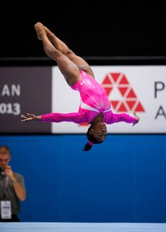 Simone Biles...a picture doesn't really shoe how high she gets!