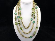 "KJL Kenneth Jay Lane Crystal & Pearl Station Necklace Emerald Green 60"" Long…"