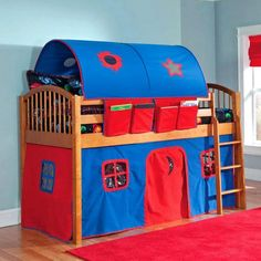 Jonathan's new bed. Found it at Wayfair - Mansfield Junior Twin Low Loft Bed with Built-In Ladder and Tent Junior Loft Beds, Low Loft Beds, Adult Bunk Beds, Kids Bunk Beds, Bunk Bed With Stairs And Storage, Bunk Bed Tent, Canopy Tent, Modern Bunk Beds, Dream Rooms