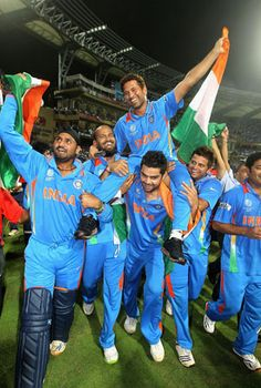 Young Virat Kohli carries Sachin Tendulkar on his shoulders during the lap of honour after Indiaâ s epic win over Sri Lanka in the World Cup final