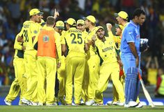 Glenn Maxwell of Australia celebrates after Mitchell Starc of Australia  took the wicket of Ajinkya Rahane of India during the 2015 Cricket World Cup Semi Final match between Australia and India at Sydney Cricket Ground on March 26, 2015 in Sydney, Australia.