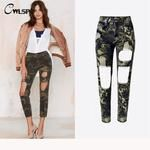 Camouflage Women Jeans Vintage Ankle Length