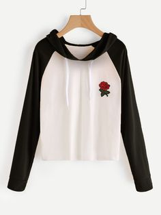Shop Raglan Sleeve Rose Patch Hoodie online. SheIn offers Raglan Sleeve Rose  Patch Hoodie   feddddc6ad12