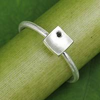 Onyx and sterling silver ring, 'The Square'