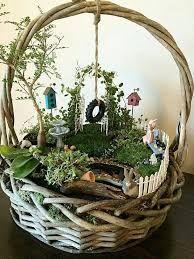 Image result for hanging basket fairy garden