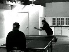 Tré beating Billie at table tennis - (2000)