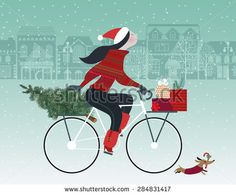 Cute girl on bicycle with dog caring christmas tree and colorful gift boxes. Shopping spree. Happy holidays concept. Vector illustration and photo image available. - stock vector