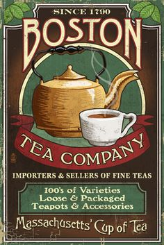 Boston, Massachusetts - Boston Tea Vintage Sign - Lantern Press Poster