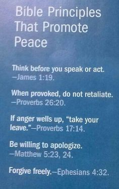 Bible Principles That Promote Peace