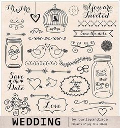 Check out Hand draw Wedding clipart by burlapandlace on Creative Market Hand Doodles, Love Doodles, Simple Doodles, Cartoon Wedding Cakes, Cartoon Drawings, Easy Drawings, Doodle Wedding, How To Draw Anything, Wood Carving For Beginners
