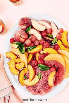There is nothing better than finishing a meal with ripe, in-season fruit. White and yellow peaches are combined with watermelon and cantaloupe for a visually striking salad with different colors, shapes, and sizes. It's a true feast for the eyes that's finished with a splash of Lillet Rosé, a refreshing aperitif with herbal notes. #marthastewart #recipes #recipeideas #fruitrecipes #fruit Yummy Pasta Recipes, Fruit Recipes, Dessert Recipes, Cooking Recipes, Dessert Ideas, Delicious Desserts, Savory Salads, Healthy Appetizers, Fruit Salads