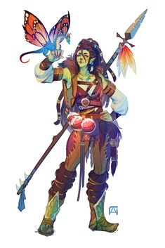 Half-Orc Druid with faerie dragon familiar Fantasy Character Design, Character Creation, Character Design Inspiration, Character Concept, Character Art, Concept Art, Dungeons And Dragons Characters, D D Characters, Fantasy Characters