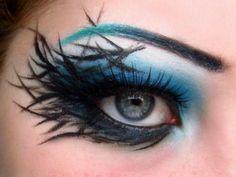eye makeup, eyebrow, color, blue, crow, birds, feather, black, crazy makeup