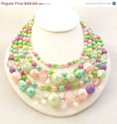 Vintage 1960s Bead Necklace Easter Egg Pastel Multi by Revvie1, $28.80