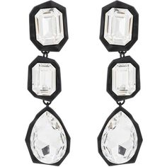 Ambush Women's Crystal-Embellished Drop Earrings ($585) ❤ liked on Polyvore featuring jewelry, earrings, black, hand crafted jewelry, geometric drop earrings, chunky jewellery, chunky jewelry and handcrafted jewelry