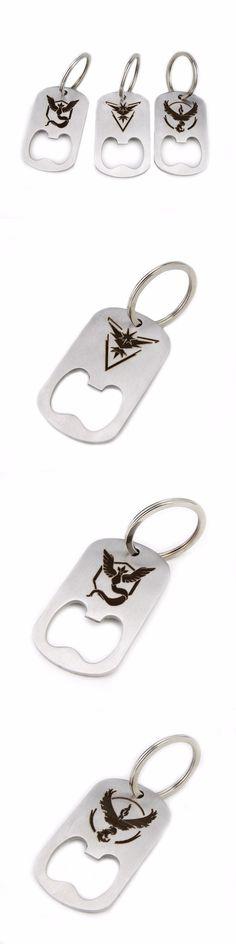 New Pokemon GO Bottle Opener Keychain Team Valor Instinct Mystic Logo Stainless Steel Pendant Metal Keyring for Women Men fans $4.99