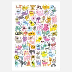 {surreal Cats Art Print} Burgerplex - so many crazy kitties!