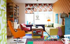 We love bright colors, orange is a major part of our color scheme.  LOVE this decor.