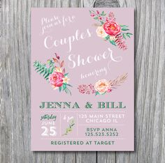 Couples bridal Shower Invitation  floral purple by irinisdesign