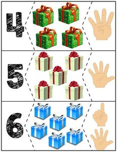 Teach counting skills with presents! Great for teaching counting skills and number recognition for numbers Quick prep and great for math centers! Numbers Preschool, Preschool Math, Autism Activities, Preschool Activities, Learning Centers, Math Centers, Kids Christmas, Christmas Crafts, Children With Autism