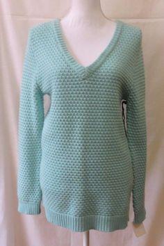 Hinge Teal Sky V Neck Knit Women Sweater Size S New #Hinge #VNeck
