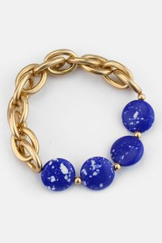 Sodalite Coin Bracelet on Emma Stine Limited look at how she put stretch cord inside