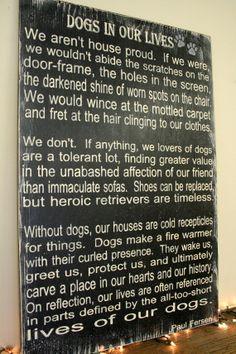 Dogs In Our Lives Poem Sign Pet Sign Distressed Wood Sign Primitive Wood Sign Rustic Sign Dog Lover Sign Mancave Sign