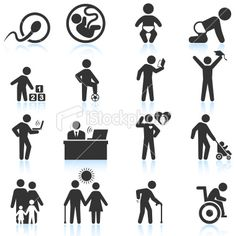 Employment and business Interview black & white icon set