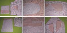 Conjunto de colcha dupla face com elástico e fronha. Uma face com estampa de flores cor de rosa e a outra face cor de rosa clara. Fitted sheet two side and pillow. One side with plaid print pink flowers and other side pink.