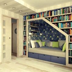 Idea for spare room - library/study by day, guest bedroom by night