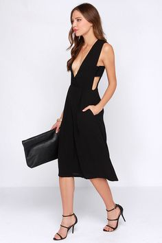 JOA Charming Midi-fications Black Midi Jumpsuit 39c9af706