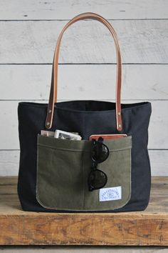 Recycled Black Cotton Pocket Tote Bag - FORESTBOUND, http://www.forestbound.com/collections/forestbound-originals/products/recycled-black-cotton-pocket-tote-bag